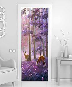 Лиловый лес с оленями
