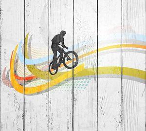 Векторная иллюстрация велосипедиста BMX на радуге