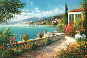 Прекрасная солнечная фреска с террасой
