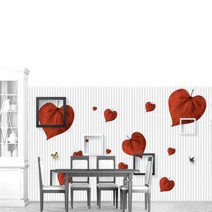Листочки в виде сердечек с квадратами