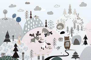 Woodland-рисованный лес с животными
