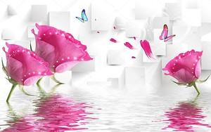 Розовые розы, блестки, отражение в воде