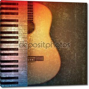 Абстрактный гранж-фон с фортепиано и гитара