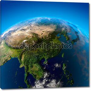 красивая земля - Восточной Азии из космоса
