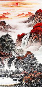 Верхушки скал поросшие красными деревьями