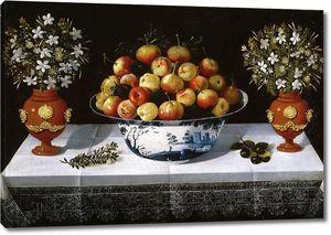 Йепес Томас. Натюрморт с фруктами и цветами в вазах