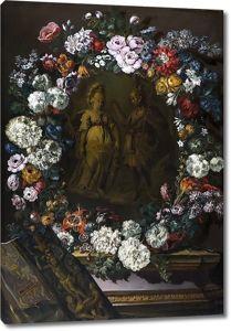 Бенито Эспинос. Меркурий и Минерва в цветочной гирлянде