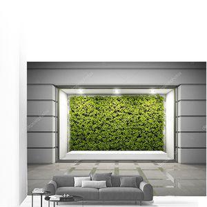 Пустое витражное окно с вертикальной зеленой стеной. 3D иллюстрация .