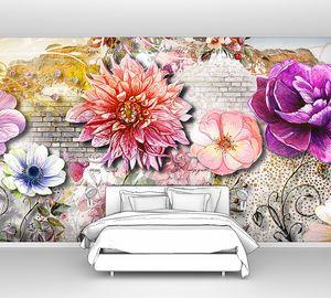 Акварельные цветы на кирпиче