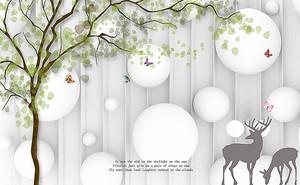 Силуэты оленей с шарами