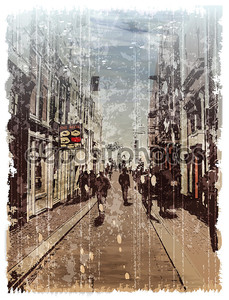 Иллюстрация улицы города. Акварель стиль.