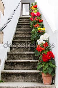 лестница, украшенная красочными цветами
