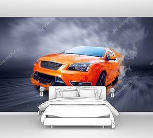 Красивый Оранжевый спортивный автомобиль в огне