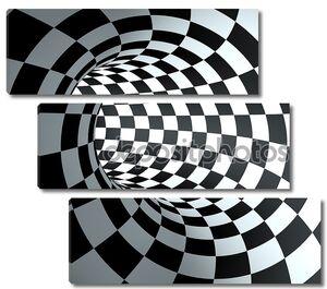 Фон абстрактный раунда клетчатый туннель.