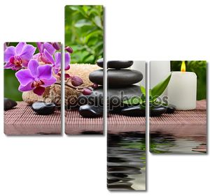 Базальтовые камни и орхидеи