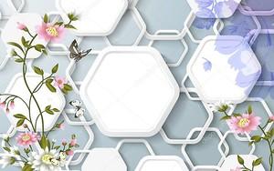 Соты, серый фон, бабочки и цветы