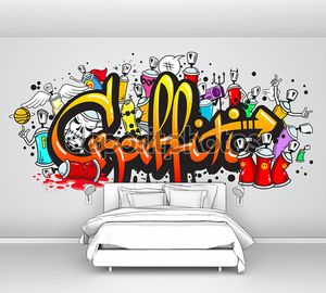 Graffiti characters composition print