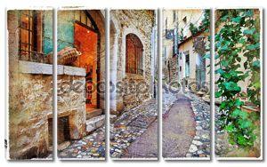 старые очаровательных улиц, деревень, Прованс, Франция