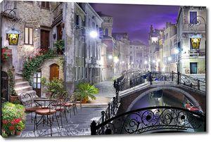 Ночной город с мостиками