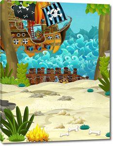 пиратский корабль на воде недалеко от берега