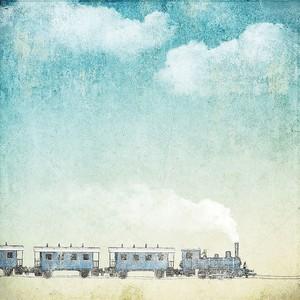 Старинный фон с поездом