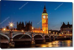 Биг Бен и палаты парламента ночью, Лондон, Соединенное Королевство