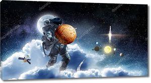 Космонавт выполняет свою миссию. Смешанные медиа