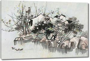 Камни на речке акварелью
