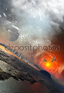 Чужеродные Планета с Мистик sky