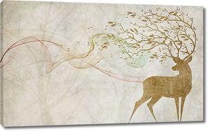 Олень с ветвями на размытом фоне