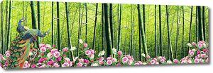 Павлины на фоне бамбука