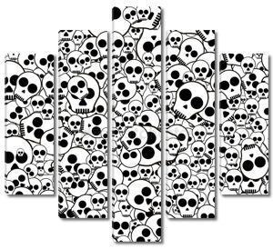 Бесшовный фон черный и белый с черепа на белом фоне
