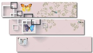 Прямоугольные рамки с бабочками