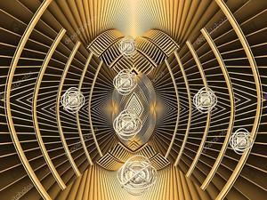 Золотой фон, линии, гравитация