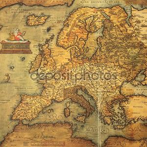 Размножение XVI века карта Европы выгравированы и цветные