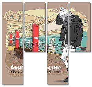 Прекрасный молодая девушка в стиле эскиз на станции метро. Векторные иллюстрации