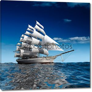 Парусный корабль в огромном океане