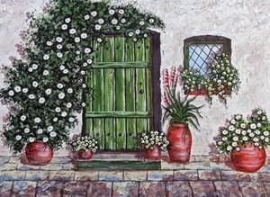 Цветник у дверей в дом