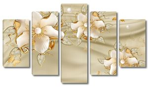 Красивые цветы на ткани