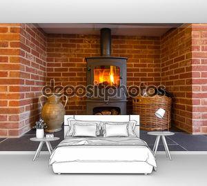 дровяная печь в камин кирпич