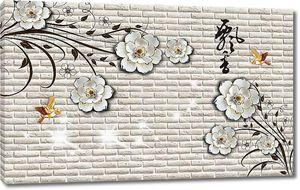 На кирпичной стене цветы