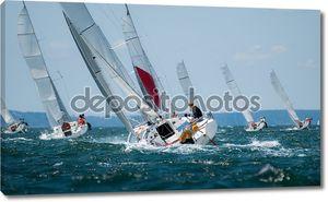 Группа яхта парусный на регате
