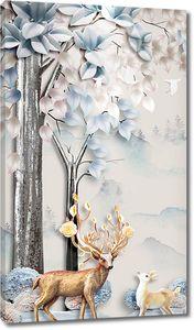 Олени под цветущим деревом