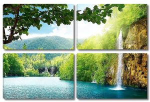 Водопад в лесу на фоне гор