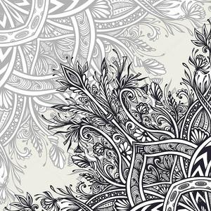 Фон из Винтажный Абстрактный цветочный орнамент черный на белом в стиле Zen запутанности сделаны по следу для творческого дизайна или для украшения различных вещей. Восточно-арабский мотив .