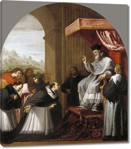 Кардучо Висенте. Святой Бруно с шестью сподвижниками пред святым Югом