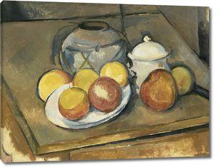 Поль Сезанн. Соломенная ваза, сахарница и яблоки