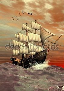 Парусный корабль - Компьютерная картина