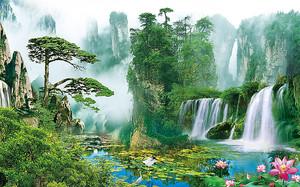 Водопад в горном лесу