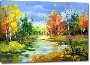 Осенний пейзаж с рекой древесины